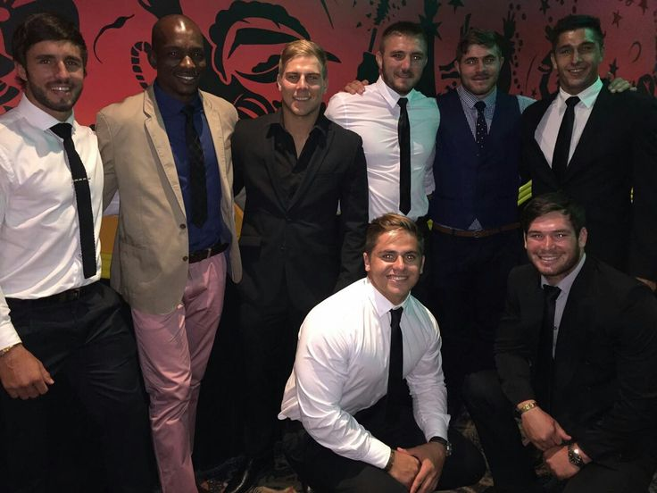 Jacques Nel, Victor Sekekte, Jaco van der Walt, Cyle Brink, Malcolm Marx, Harold Vorster, Rohan Janse van Rensburg and Koch Marx at the Lions Group's Awards Night.   #LeyaTheLion #Liontainment #BeThere #MyLionsMoment #LionsAwards2017