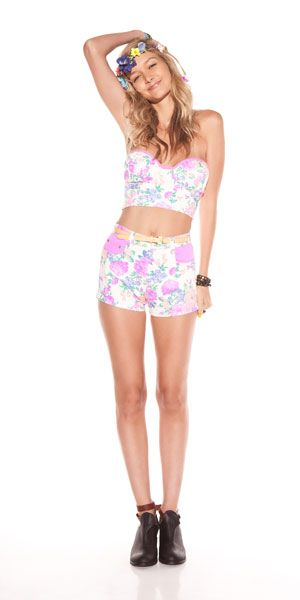 Electric field bustier $48  Electric field short $68 at Charyli