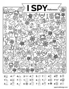 Free Printable I Spy Halloween Activity in 2020 (With ...
