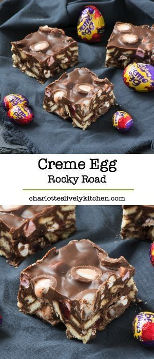 An Easter version of super simple rocky road featuring Cadbury creme eggs - yum!