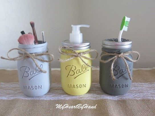 Yellow and Grey Bathroom Decor, 3 Piece Bathroom Set, Yellow and Gray Kitchen, Country Decor, Distressed Mason Jar Soap Dispenser, Soap Pump by MyHeartByHand on Etsy