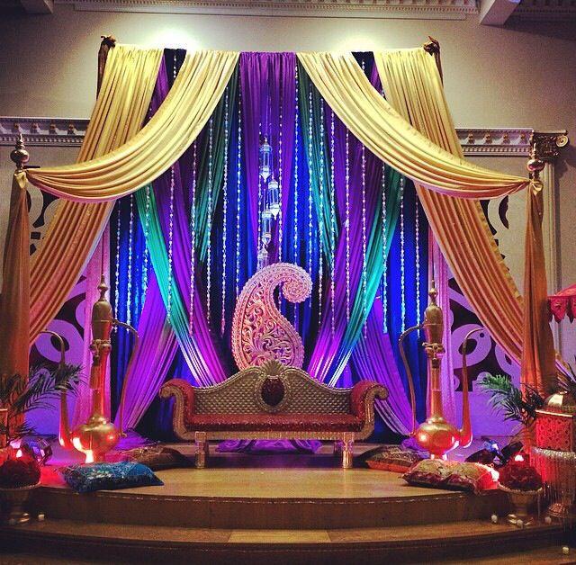 Bold gem tones for the mehndi sangeet dholki stage backdrop indian bold gem tones for the mehndi sangeet dholki stage backdrop indian pakistani bengali wedding stages pinterest mehndi backdrops and stage junglespirit Images