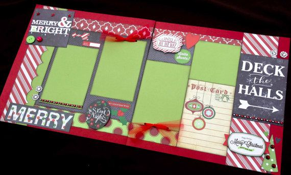 "12x12 Scrapbook Page Merry & Bright Christmas Kit . DIY Kit or Pre-Made Double Page Layout. Christmas Scrapbook Layout. 12x12 Christmas Page. Simple Stories ""December Documented"""