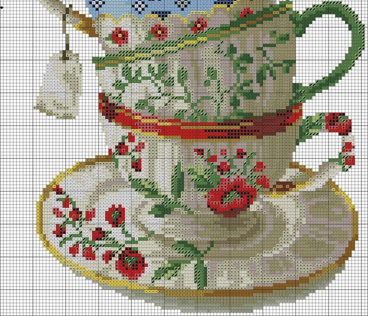 Stacked Tea Cups Cross Stitch Embroidery Cross Stitch