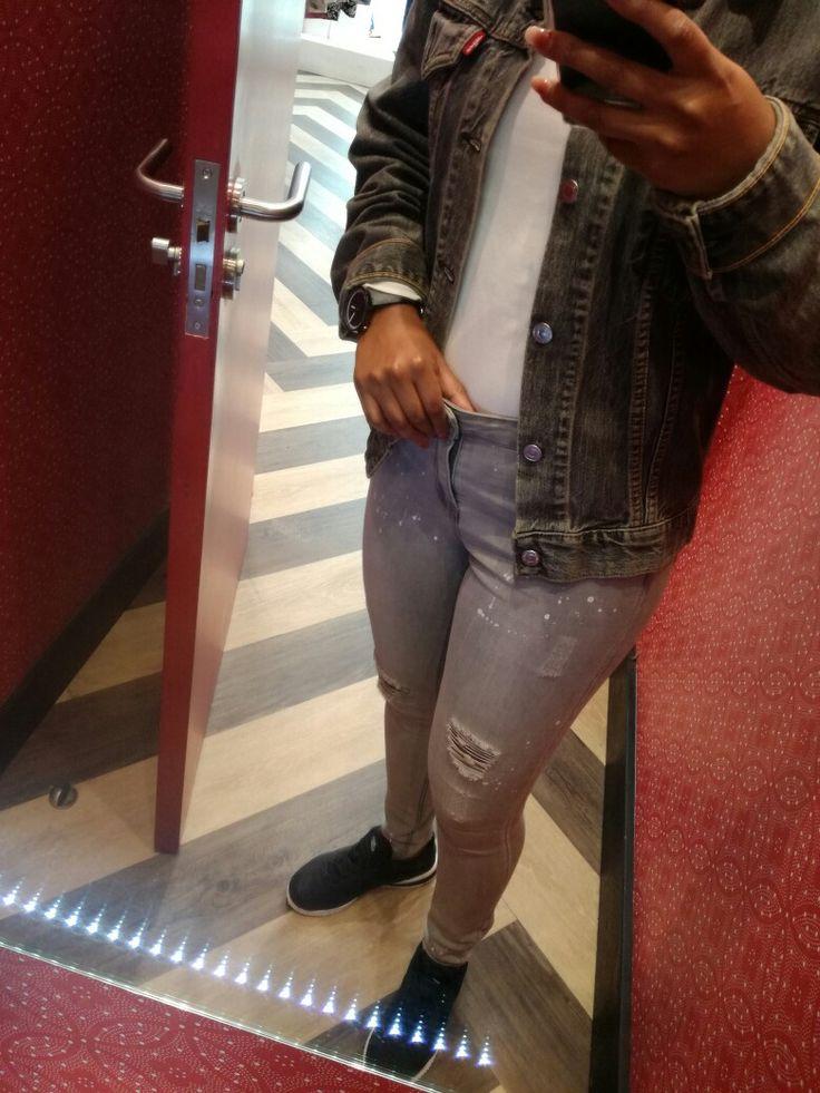 Grey denim jeans and jacket. Cortez Nike black shoes