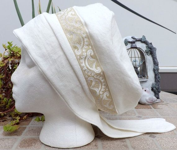 Bride of the Lamb 100% White Linen Pull On Snood Head Covering with Gold Trim