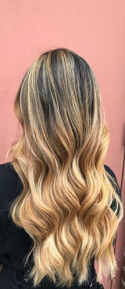 Caramel blonde balayage by Josh, long hair, tousled curls, blonde, summer blonde
