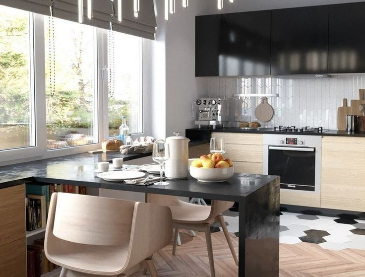 27m2-es pici lakás modern berendezése - biokandalló kényelmes konyha fa felületek külön hálórész
