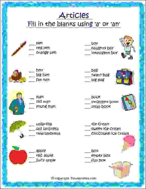 A And An Worksheet 1 - EStudyNotes 2nd Grade Worksheets, English Grammar  Worksheets, Articles Worksheet