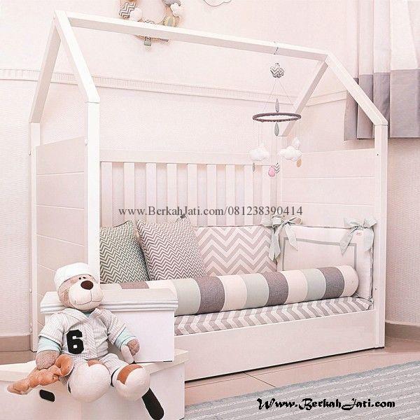 Jual Tempat Tidur Jari Jari Model Gubuk Rumah Merupakan Produk Mebel Berkah jati Jepara dengan desain Minimalis Model Tempat Tidur Rumah Anak Cat Putih Duco