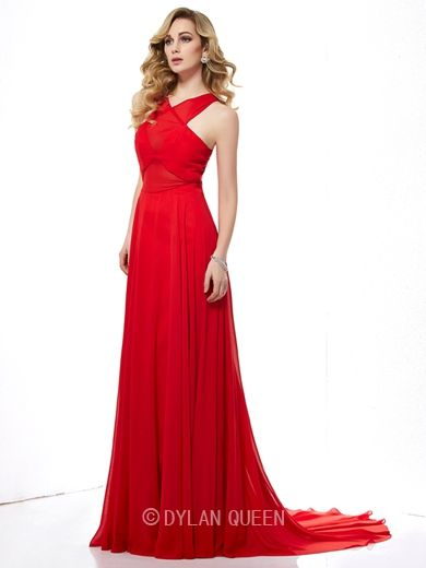sexy long red trailing pleated evening dress