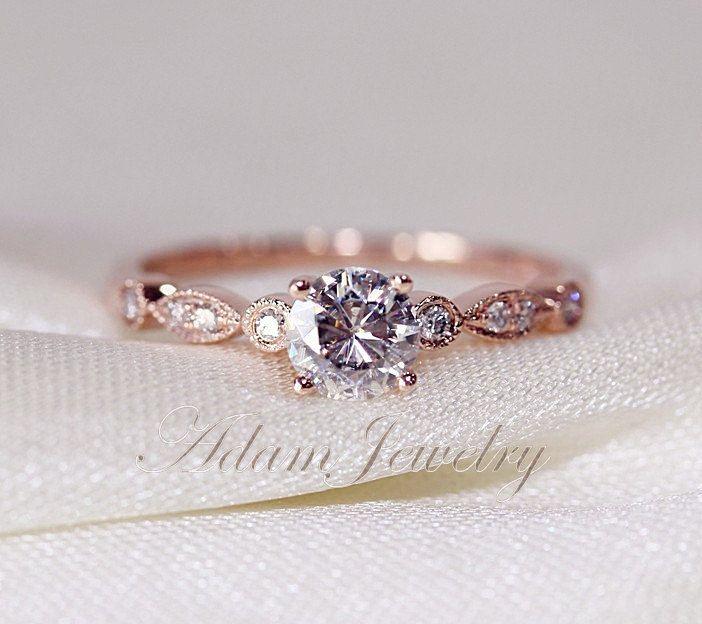 VS fantaisie bague Moissanite VS Accent diamants 14K or Rose bague de fiançailles/bague de mariage/bague de promesse by AdamJewelry on Etsy