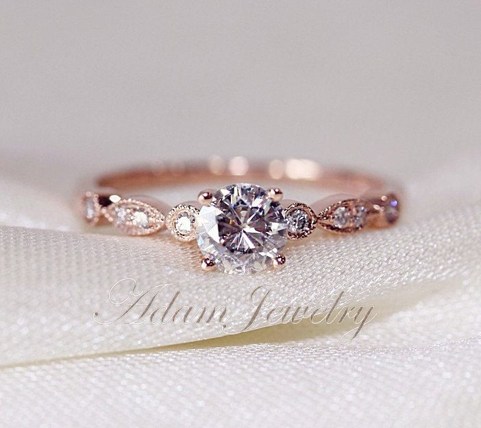 Fancy VS Moissanite Ring VS Accent Diamonds 14K by AdamJewelry, $399.00 this is PERFECT!!!