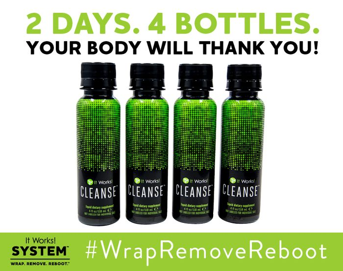 It Works! Cleanse is a gentle two-day herbal cleanse that helps your body reset and rebalance itself so you can feel and look your best! Formulated with two proprietary blends to work with your body to help remove toxins while delivering essential nutrients and vitamins,* It Works! Cleanse provides a powerful cleanse without the harsh effects other cleanses can cause.