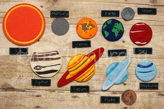 Learn all about our solar system with this cool planet felt board set. Contains 8 planets + Pluto, the sun, and the moon with a label for