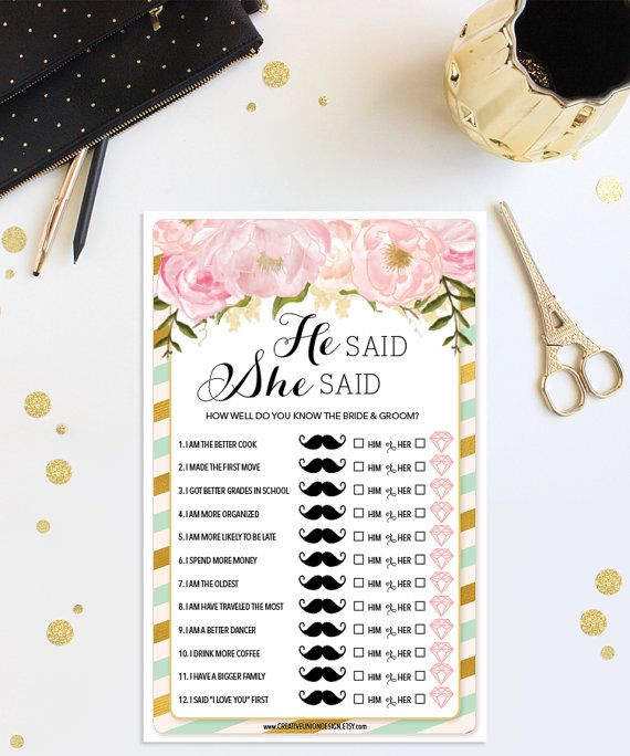 Instant Download - He Said She Said Game - Mint and Gold Bridal Shower Game - Wedding Shower - Floral - Print at Home