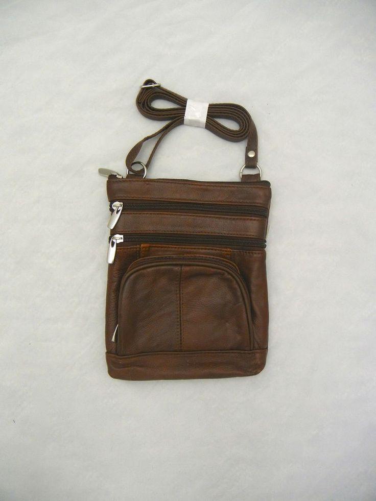 New Brown Cowhide Leather Over The Shoulder Purse Adjustable Shoulder Strap