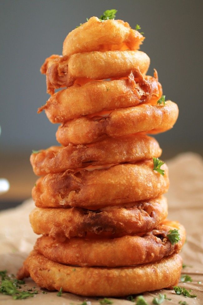 Tequila Battered Onion Rings with Honey Lime Yogurt Sauce