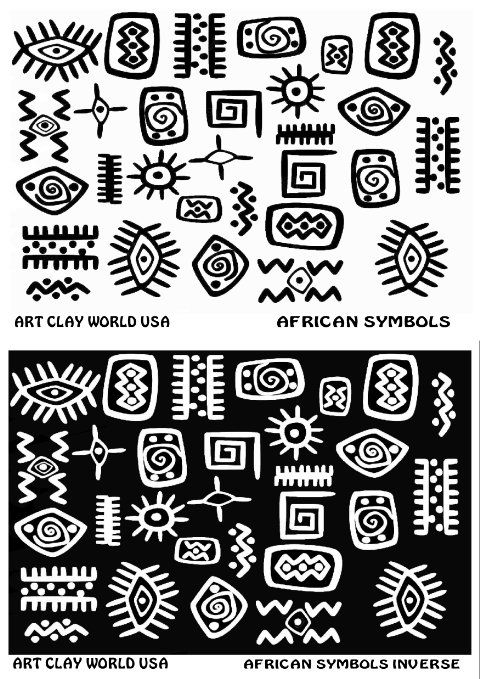 Flexistamps Texture Sheet Set African Symbol Designs (Including African Symbol and African Symbol Inverse)- 2 Pc.