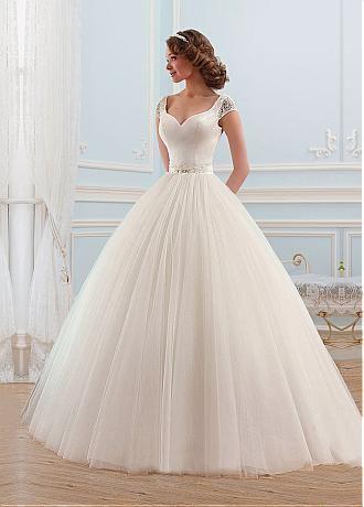 comprar Vestido de boda del vestido de fascinación de tul con cuello en V escote Bola Con Listones y diamantes de imitación #blackfriday de descuento en Dressilyme.com