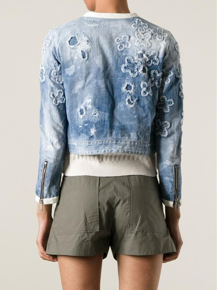 floral appliqued denim jacket