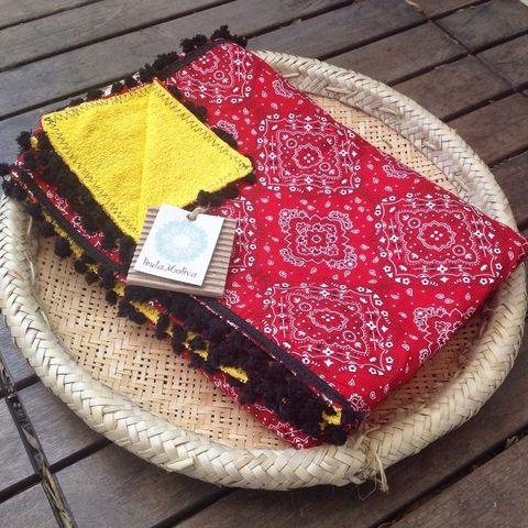 canga toalha vermelha bandana