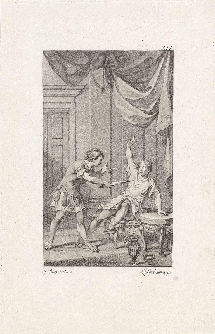 Ludwig Gottlieb Portman | Titus bedreigt Pomponius, Ludwig Gottlieb Portman, 1794 | Nadat de mishandelde Titus over het lot van zijn vader Titus Manlius Torquatus hoort gaat hij naar het huis van Pomponius. Als de bedienden het vertrek hebben verlaten bedreigt hij Pomponius met een dolk, waarop laatstgenoemde het vonnis van Manlius intrekt.
