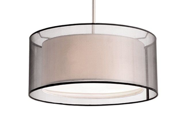 "42332B - Two Lamp Pendant with Drum Transparent Shades 2x60W 15"" x 8"" - 42"" rod 109.25"