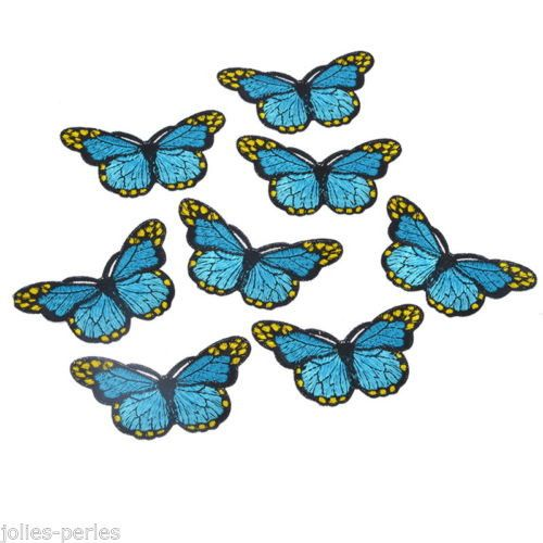 JP 5PCs Embroidered Patches For Clothes Garments Iron-on Sew-on Blue Butterfly