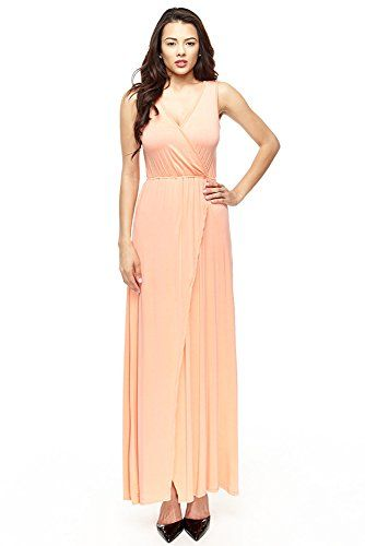 bd32978b67b Modal Vneck Beach Wrap Full Length Long Maxi Dress Large Coral Peach -- You  can get additional details at the image link.