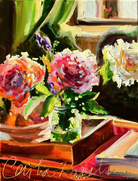 Fleurs de jardin art print of original oil painting by ceciliarosslee roses in mason jar - Table jardin rose toulon ...