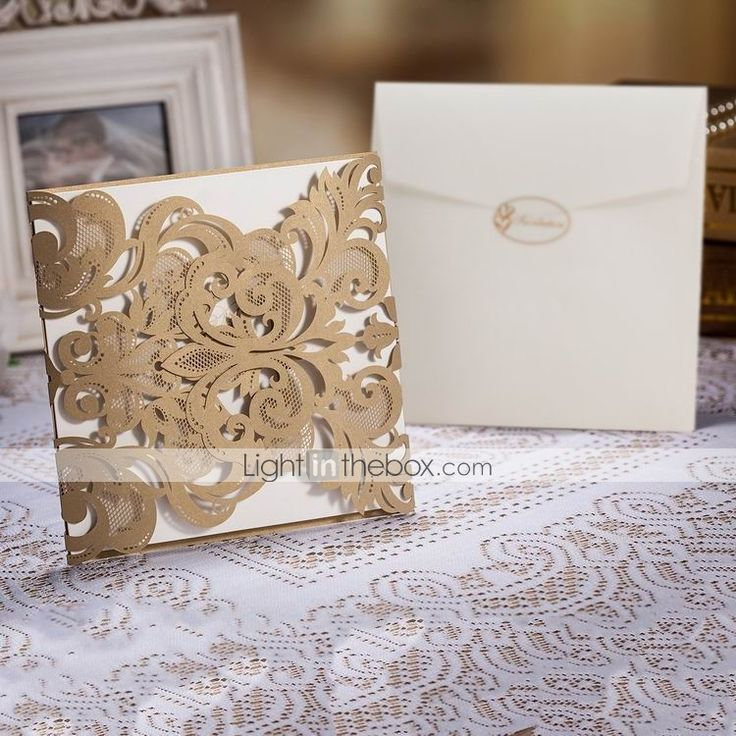 box wedding invitations online%0A Wedding Invitation Laser Cut Trifold Set of      USD