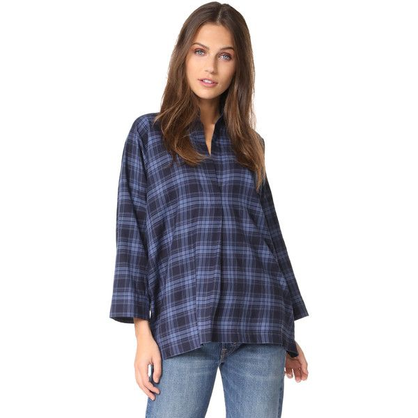 Vince Plaid Oversized Blouse (£215) ❤ liked on Polyvore featuring tops, blouses, coastal, cut loose shirt, cotton collared shirt, plaid blouse, folding shirts and half sleeve shirts