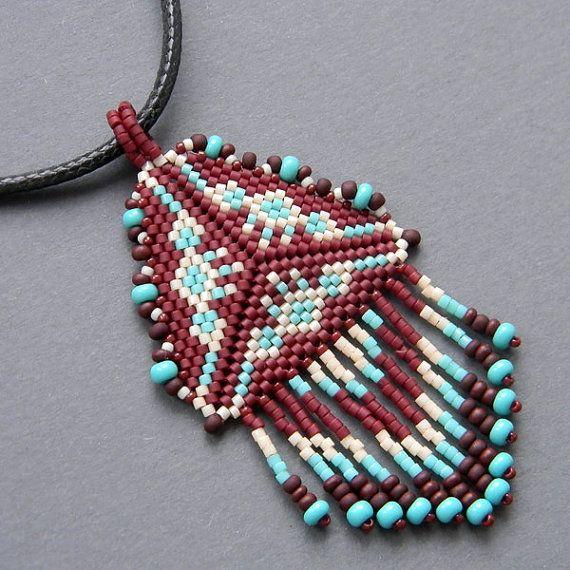 Triangle Beaded Pendant peyote necklace ethnic by Anabel27shop, #beadwork