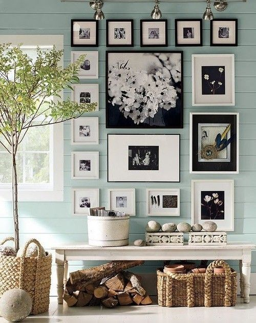 picture wallWall Colors, Ideas, Photo Walls, Black And White, Black White, Photos Wall, Gallery Wall, Pictures Frames, Pictures Wall