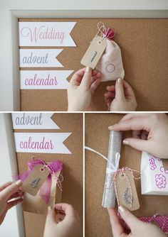 """Unique Bridal Shower Gift Idea... Make a darling """"Wedding Advent Calendar"""" for your bestie to unwrap and celebrate the days leading up to her wedding day!"""