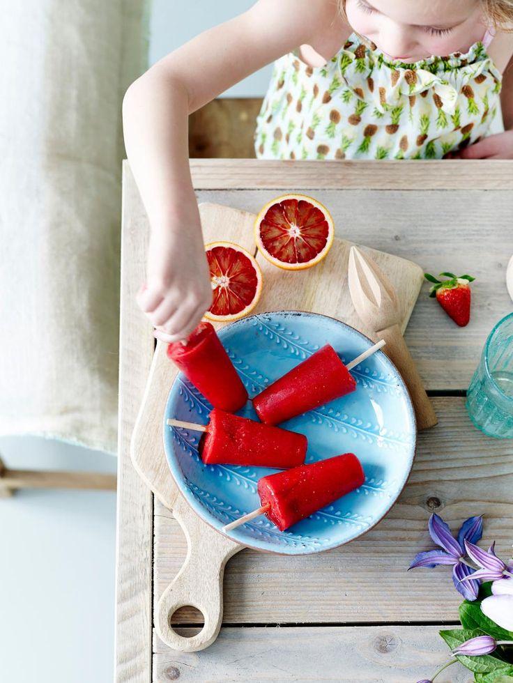 Sorbet à la fraise et à l'orange sanguine