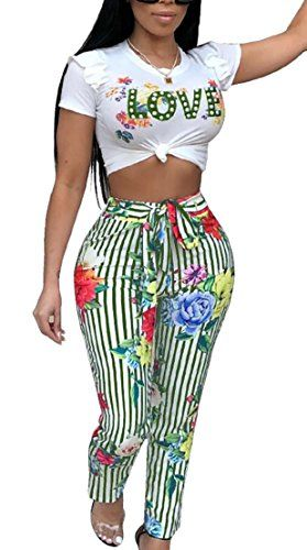 c8d200ecb5300d GenericWomen Generic Womens Sexy Short Sleeve Crop Top Letters Printed Long  Pants Outfits