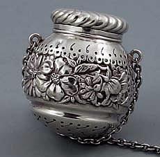 Gorham sterling antique tea ball: Teas Ball, Antiques Teas, Repouss Sterling, Sterling Silver, Silver Teas, Antiques Sterling, Chase Bands, Large Antiques, Gorham Repouss