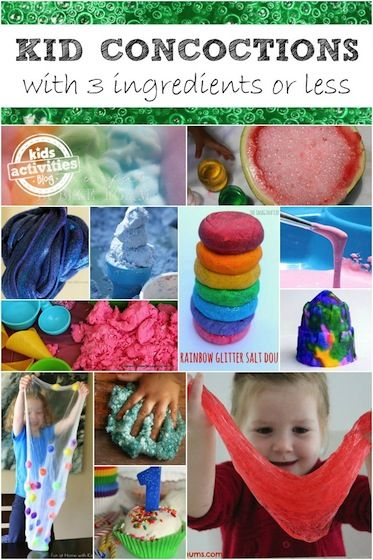 35 Three-Ingredient Concoctions for kids to make!  Goop, goo, slime, game, playdough, cloud dough and so much more!  Tons of super-sensory concoctions that take only 3 household ingredients! - Happy Hooligans for Kids Activities Blog