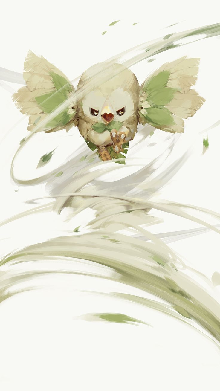 a-shacho beak bird black_eyes highres leaf no_humans open_mouth owl pokemon pokemon_(creature) pokemon_(game) rowlet simple_background talons white_background wind