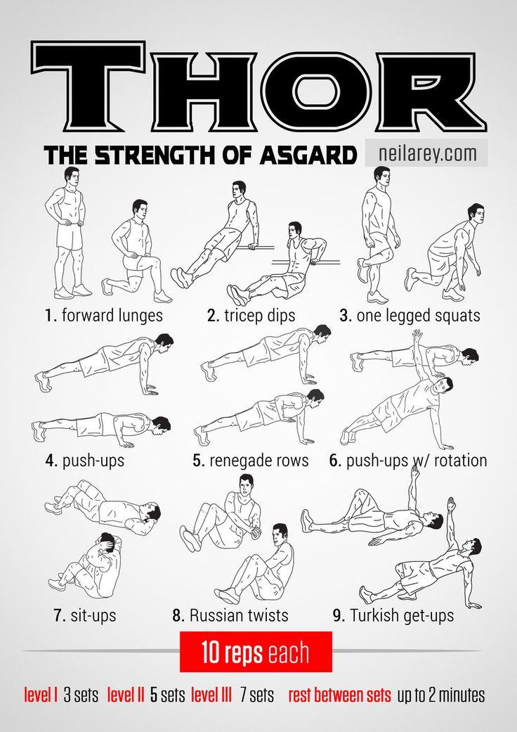 Thor workout: the Strength of Asgard (pinning because of the sheer number of nerdy workouts available on this website.)