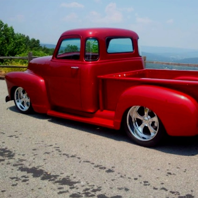 5 window 54 Chevy. Another red truck that is beautiful