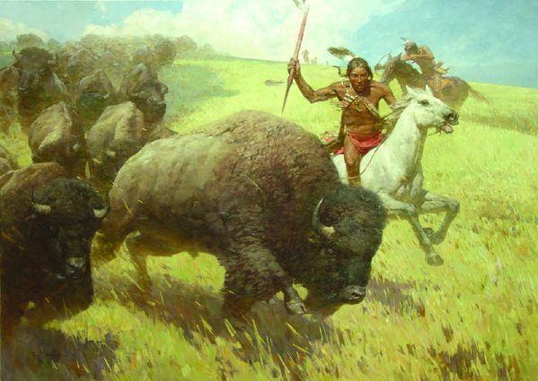 Bison Hunting - Zhou Shu Liang (1953)