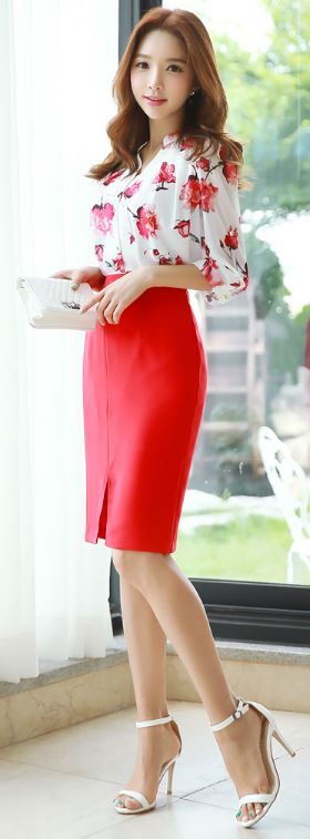 StyleOnme_High waisted Front Slit Pencil Skirt #red #slit #stylish #summer…