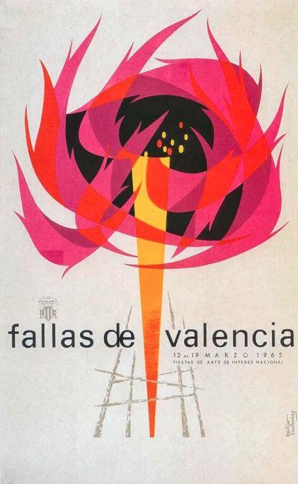 Poster by Damián Contreras Ortiz, 1965, Fallas de Valencia. (S)