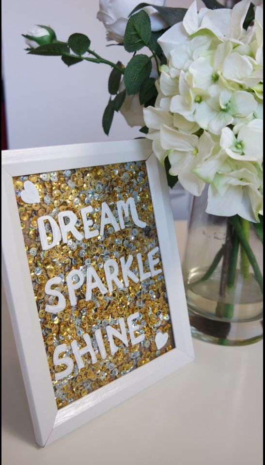Inspirational quote photo frame. Gold sequin art. Home decor. Gift for her. Present for loved one