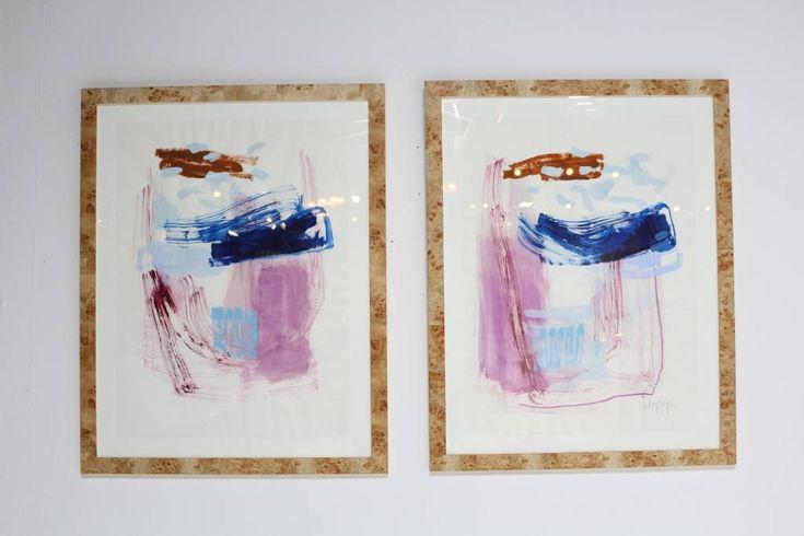 "BEAUTIFUL ORIGINAL ARTWORK BY TEXAS ARTIST LINDSEY MEYER. FRAMED IN BURL WOOD. PRICED AS A PAIR. 29.25"" X 36.5"" H"