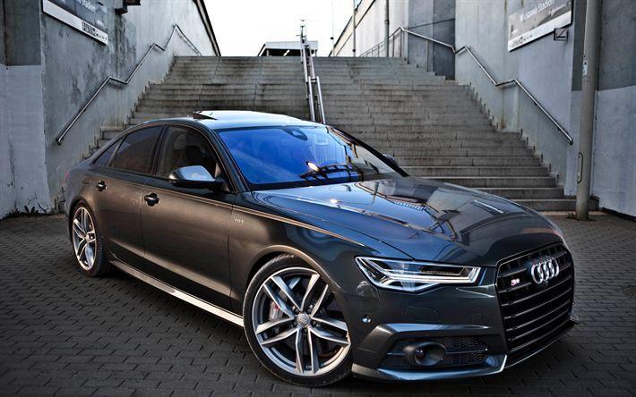 Descargar fondos de pantalla 2017 coches, Audi S6, coches de lujo, gris s6, los coches alemanes, el Audi