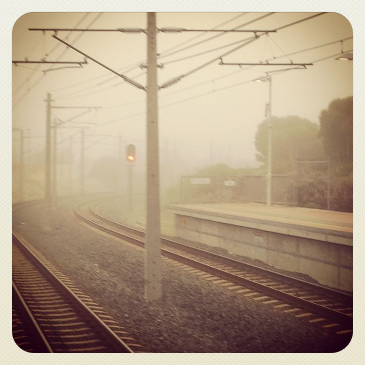 Hazy Morning on train platform